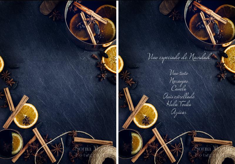 Fotografías culinarias con texto