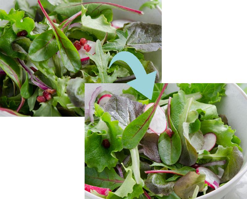 Collage estilismo culinario para ensaladas