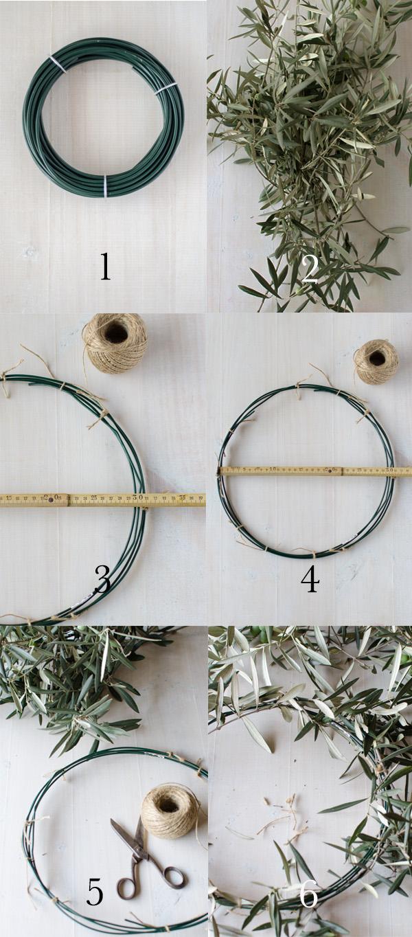 Crear una corona de ramas de olivo